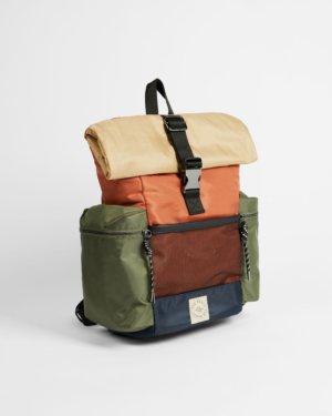 Satin Nylon Colour Blocked Backpack