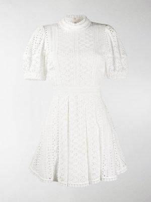 Self-Portrait broderie cotton mini dress