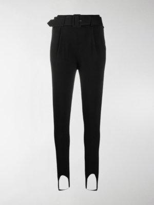 Self-Portrait buckle-fastening skinny-fit trousers