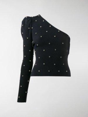 Self-Portrait crystal-embellished one-shoulder jumper