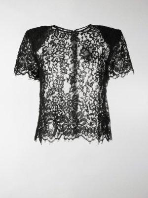 Self-Portrait lace-trimmed short-sleeved blouse
