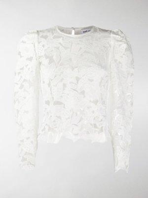 Self-Portrait leaf guipure lace blouse