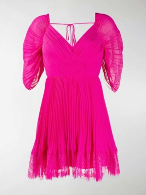 Self-Portrait pleated lace-trimmed mini dress