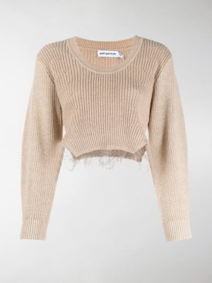 Self-Portrait ribbed knit jumper with lace trim