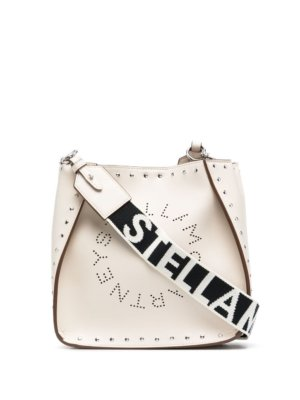Stella McCartney Stella Logo studded shoulder bag - White