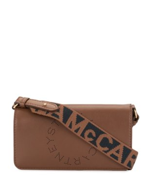 Stella McCartney logo-tape shoulder-strap crossbody bag - Brown