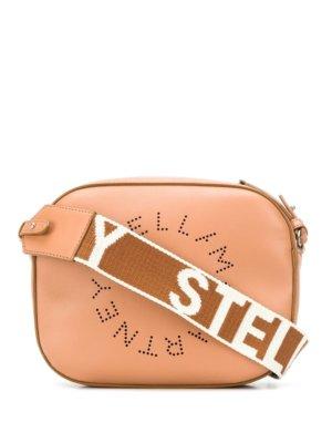 Stella McCartney perforated logo shoulder bag - Brown