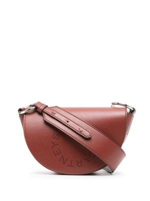 Stella McCartney punch-hole logo shoulder bag - Brown