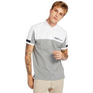 Timberland Millers River Colour-block Polo Shirt For Men In Grey Grey, Size L