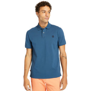 Timberland Millers River Organic Cotton Polo Shirt For Men In Blue Blue, Size M