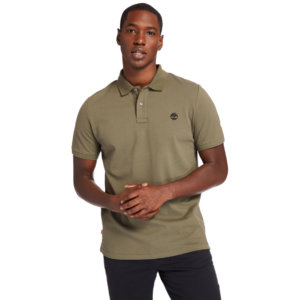 Timberland Millers River Organic Cotton Polo Shirt For Men In Dark Green Dark Green, Size 3XL