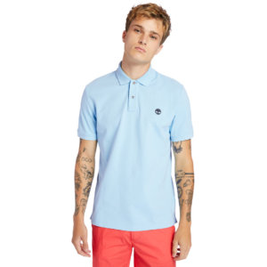 Timberland Millers River Organic Cotton Polo Shirt For Men In Light Blue Light Blue, Size L
