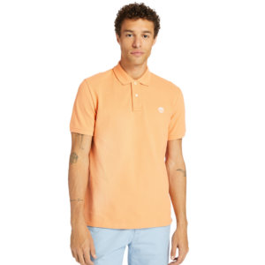 Timberland Millers River Organic Cotton Polo Shirt For Men In Peach Peach, Size L
