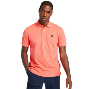 Timberland Millers River Organic Cotton Polo Shirt For Men In Pink Pink, Size L