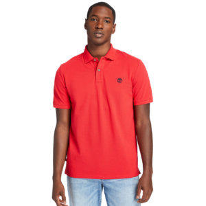 Timberland Millers River Organic Cotton Polo Shirt For Men In Red Red, Size L