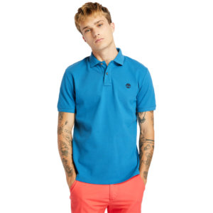 Timberland Millers River Organic Cotton Polo Shirt For Men In Teal Teal, Size L