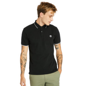 Timberland Millers River Tipped-collar Polo Shirt For Men In Black Black, Size 3XL
