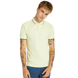 Timberland Millers River Tipped-collar Polo Shirt For Men In Light Green Light Green, Size 3XL