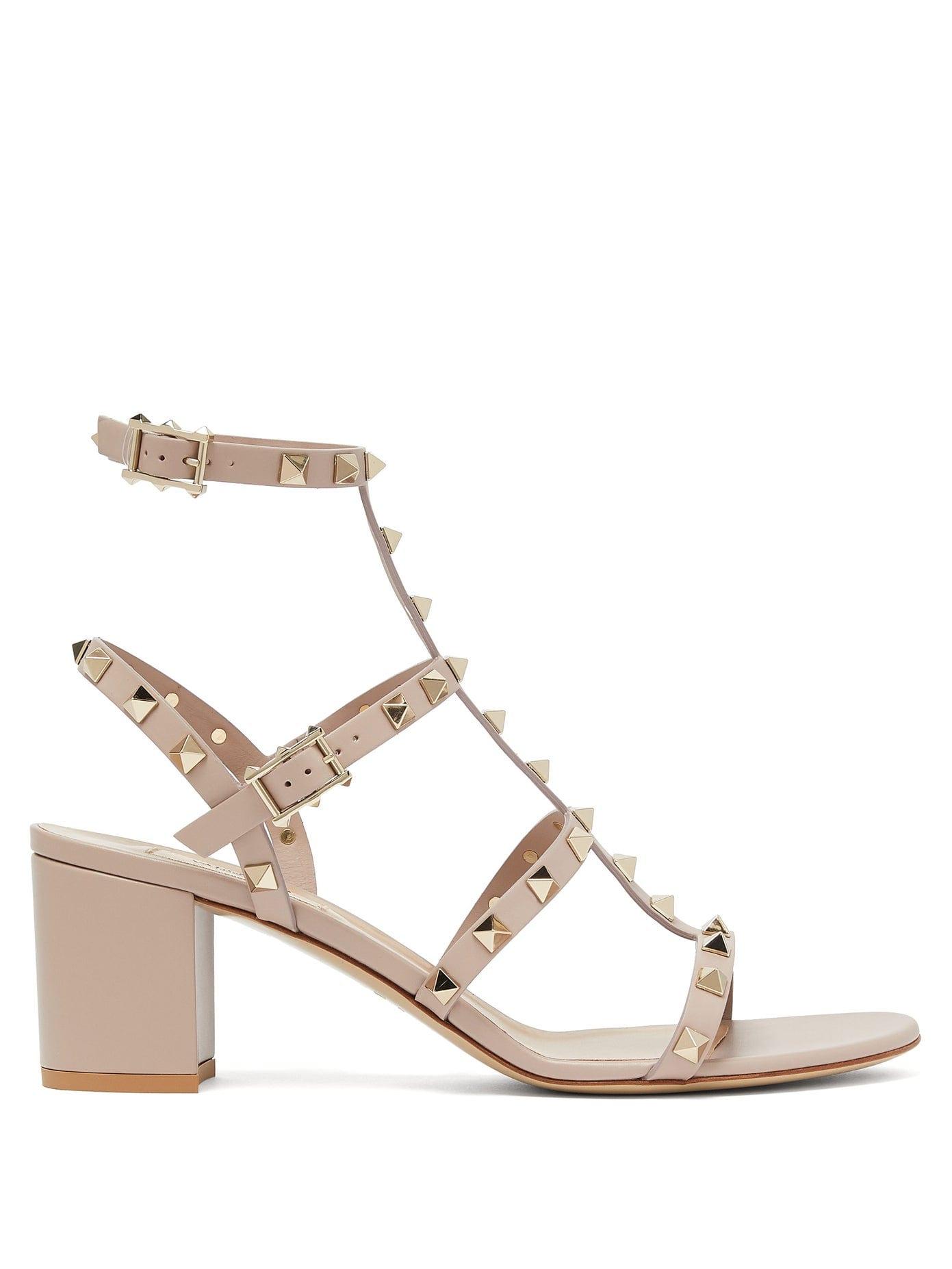 nude studded leather heels