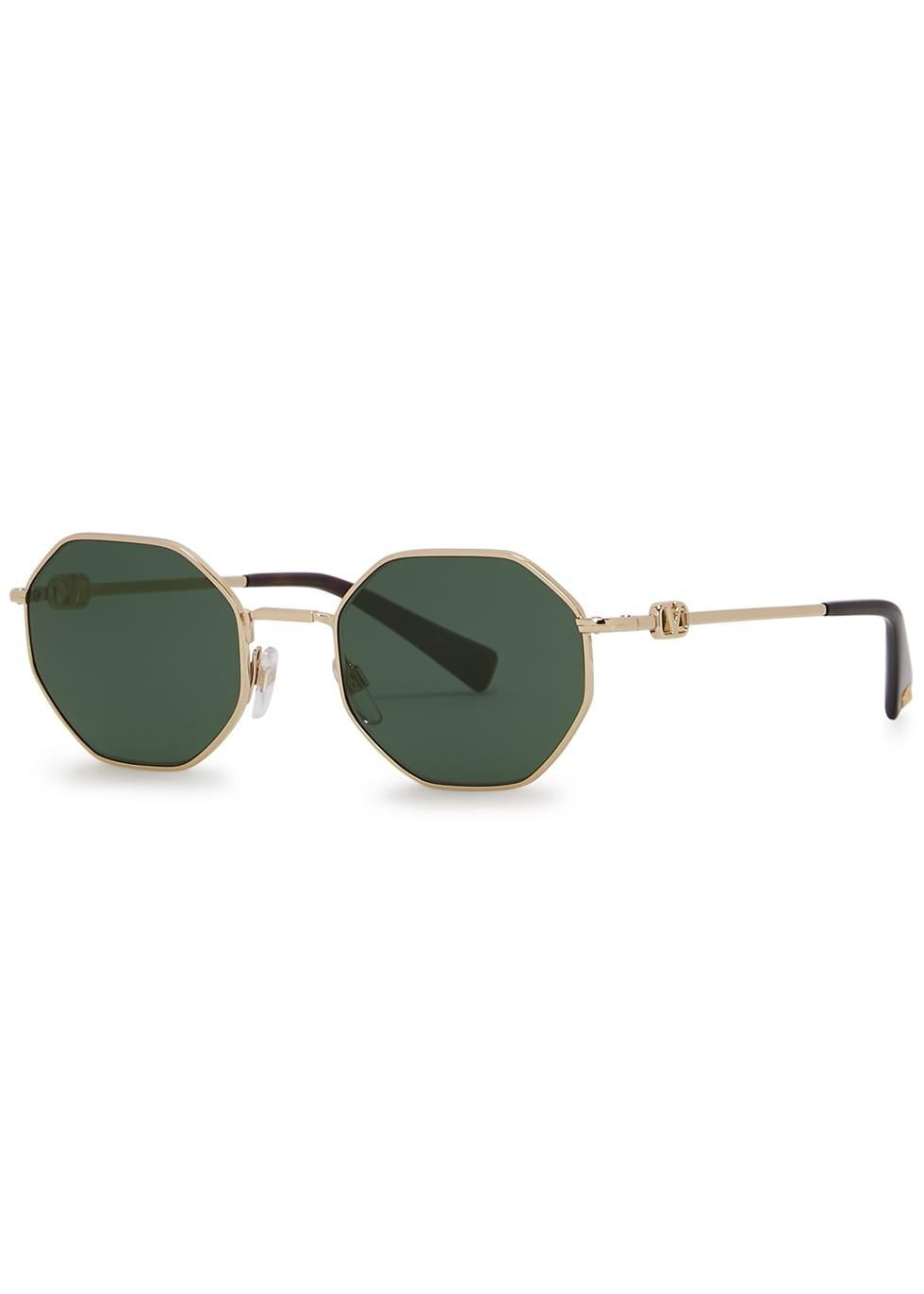 gold tone oval frame sunglasses