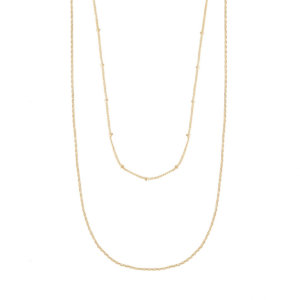 Wanderlust + Co - Beaded Layered Chain Gold Necklace