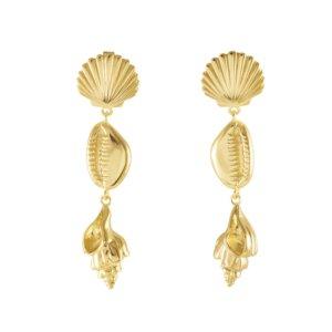 Wanderlust + Co - Como Shell Gold Earrings