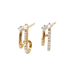 Wanderlust + Co - Double Pave Huggie Earrings