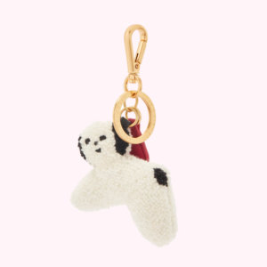White Charlotte Mei Dog Keyring