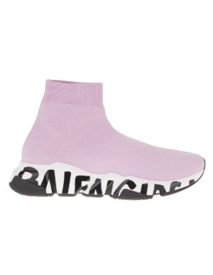 Woman Pink And White Speed Graffiti Sneakers