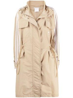 adidas by Stella McCartney logo-print 3 stripe parka coat - Neutrals