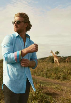 Kenyan shirt made from Turquoise Kenyan Kikoy fabric - by KOY Clothing