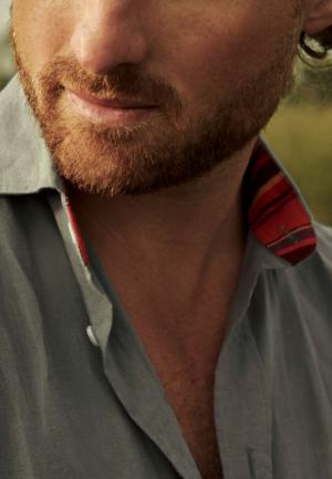 Safari Khaki 100% Linen Shirt with authentic Kenyan Kikoy fabric detailing