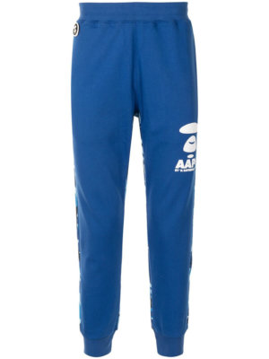 AAPE BY *A BATHING APE® camouflage-panel tapered track pants - Blue