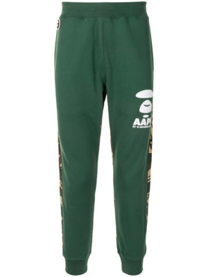 AAPE BY *A BATHING APE® camouflage-panel tapered track pants - Green