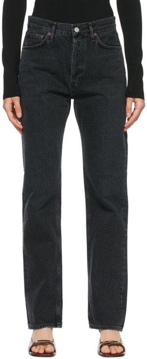 AGOLDE Black Lana Low-Rise Vintage Straight Jeans