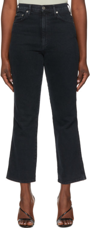 AGOLDE Black Pinch Waist High Rise Kick In Realm Jeans