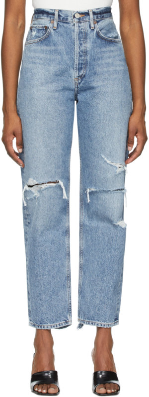 AGOLDE Blue Distressed '90s Mid-Rise Loose Fit Jeans