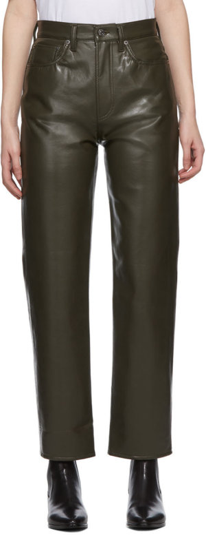 AGOLDE Khaki Recycled Leather 90's Pinch Pants