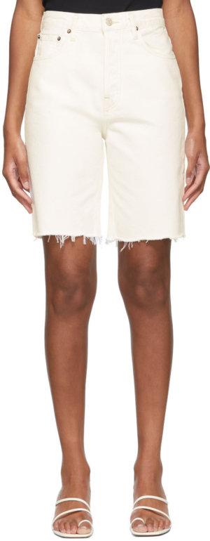 AGOLDE White Denim 90's Pinch Waist Shorts