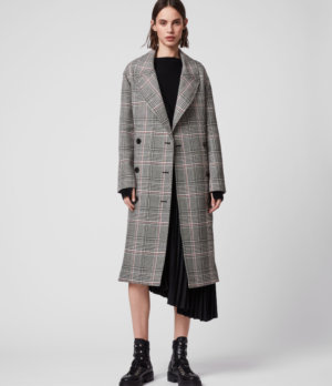 AllSaints Cotton Check Relaxed Fit Tyla Trench Coat, Black and White, Womens, Size: XS