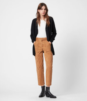 AllSaints Womens Afelia Cardigan, Black, Size: L