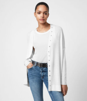 AllSaints Womens Afelia Merino Wool Cardigan, White, Size: XS