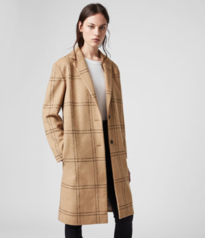 AllSaints Womens Anya Check Coat, Brown and Black, Size: S