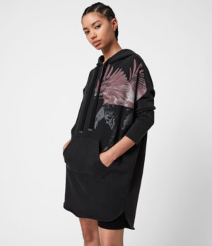 AllSaints Womens Aquila Hoodie Dress, Vintage Black, Size: M
