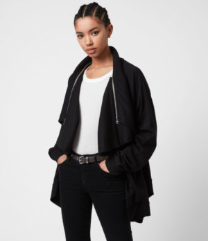 AllSaints Womens Callie Jersey Cardigan, Black, Size: 4