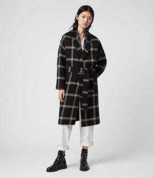 AllSaints Women's Cotton Check Lara Long Sleeve Coat, Black and Grey, Size: XS