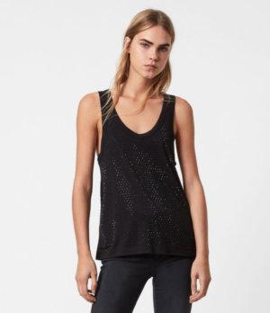 AllSaints Women's Cotton Embellished Regular Fit Orvi Sparkle Tank Top, Black, Size: 2