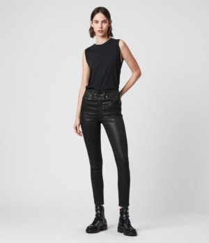AllSaints Womens Dax Cropped High-Rise Superstretch Skinny Jeans, Coated Black, Size: 25
