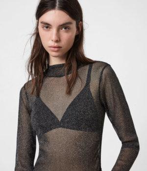 AllSaints Womens Francesco Metallic T-Shirt, Black, Size: 2