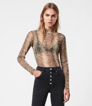 AllSaints Womens Francesco Snake Top, Gold, Size: 4
